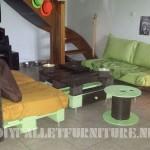 Salon meublé avec des palettes
