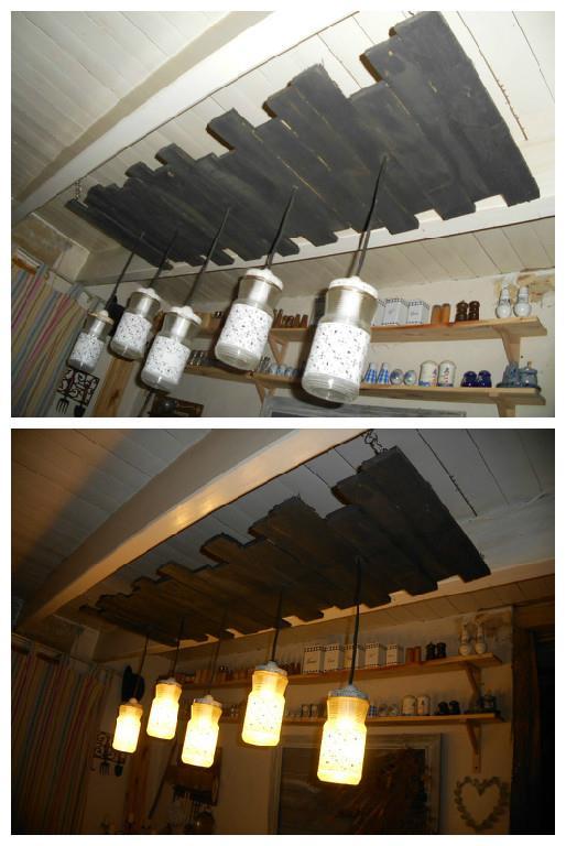 Lampes avec des pots et des planches de palettes