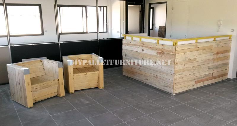 Butacas y barra de bar con palets reciclados 2meuble en for Barras de madera bar