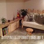 Salon meublé avec des meubles de palettes