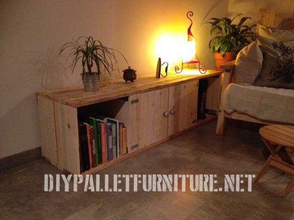 Salon meublé avec des meubles de palettes 2