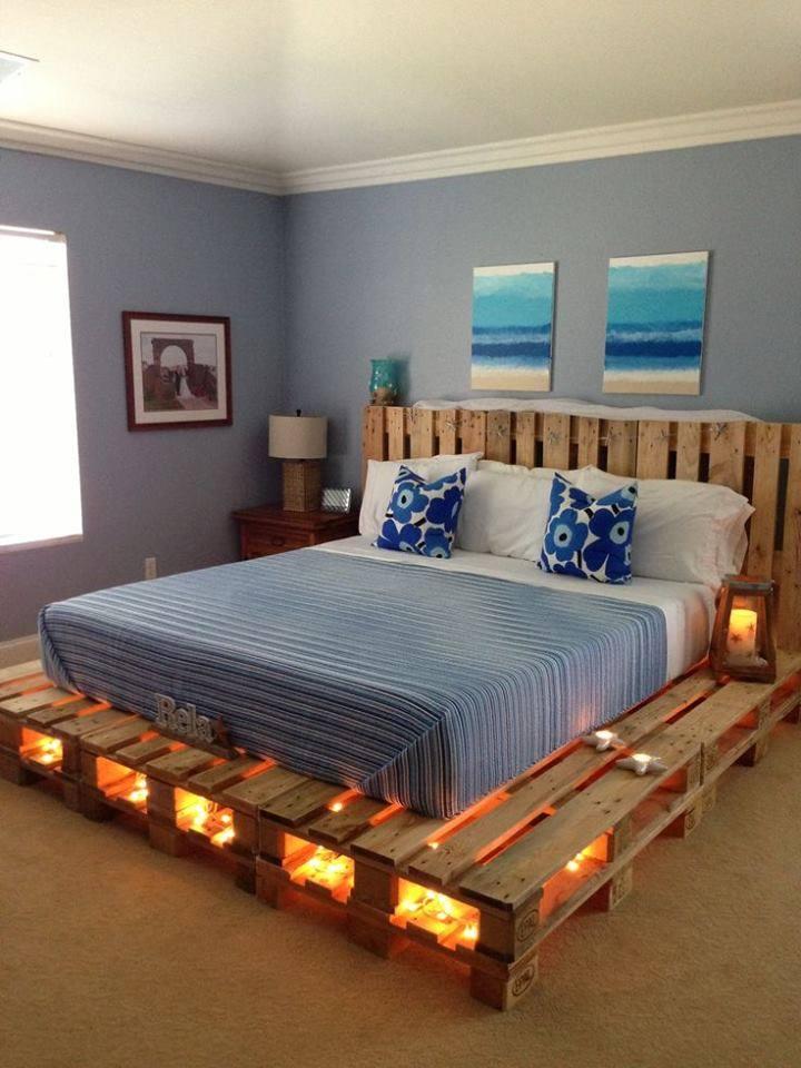 Cadre de lit fait avec palettes 1