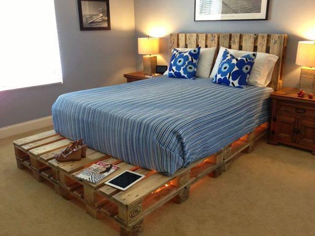 cadre de lit fait avec palettesmeuble en palette meuble en palette. Black Bedroom Furniture Sets. Home Design Ideas