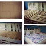 Triple lit fait avec des palettes