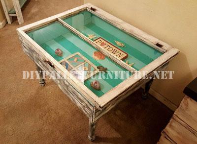 Table construite avec des palettes et une fen tremeuble en - Construire une table avec des palettes ...