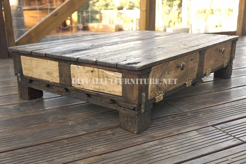 Table rustique de salonmeuble en palette meuble en palette - Table basse palette industrielle vintage ...