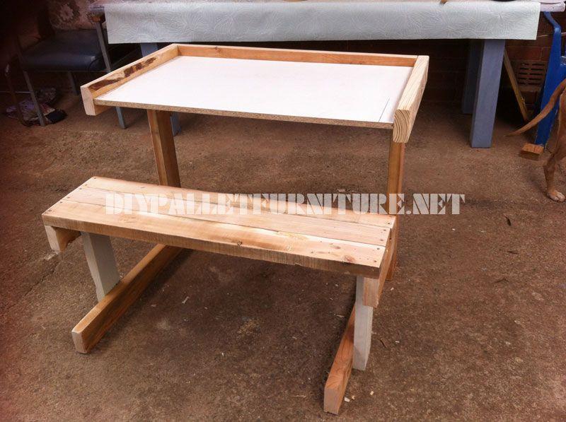 Bureau en palettes planchesmeuble en palette meuble en for Bureau en palette