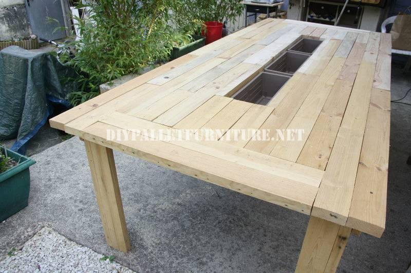 Seau glace table avec palettesmeuble en palette meuble - Construire une table avec des palettes ...