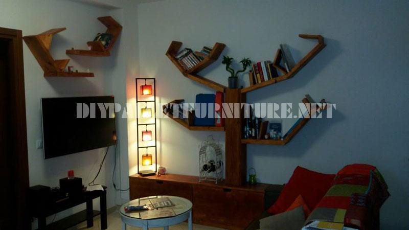 Étagères et des meubles pour la salle de séjour avec la forme de l'arbre 7
