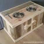 Des bols d'eau et d'alimentation pour les chiens en palettes