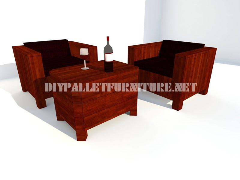 Les fauteuils et table tronc avec des palettes 3