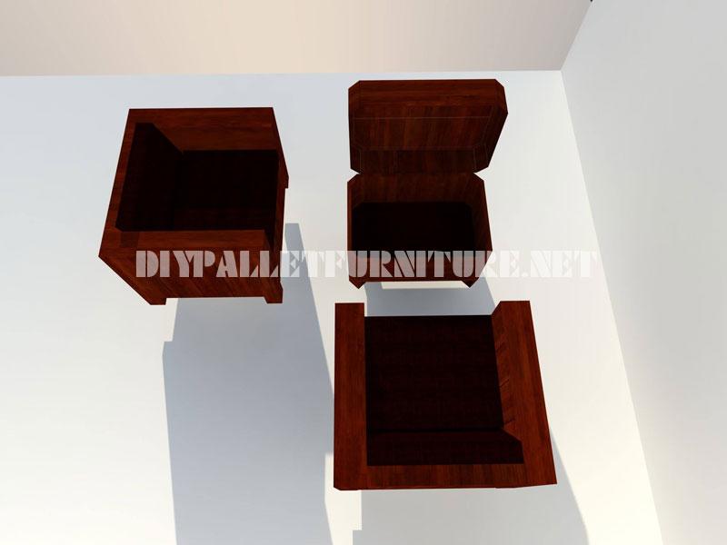 Les fauteuils et table tronc avec des palettes 4