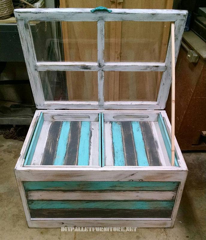 Table en verre avec des palettes 3
