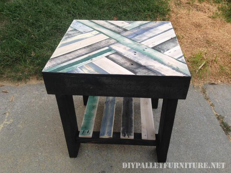 Tables avec frontières faite de palettes 1
