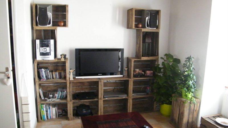 4 Meubles TV avec des boîtes de fruits 1