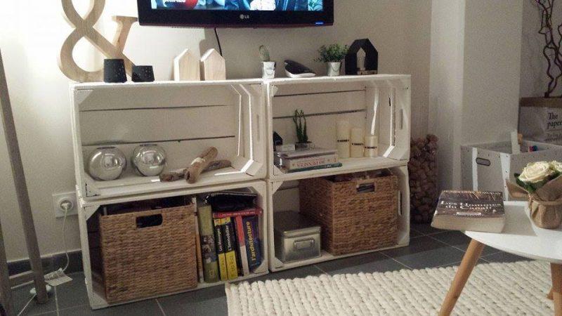 4 Meubles TV avec des boîtes de fruits 4
