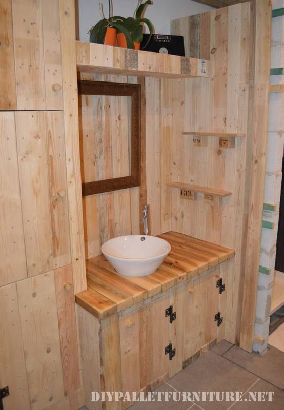 Grande salle de bain fait avec palettes 5meuble en palette meuble en palette - Meubles fait avec des palettes ...