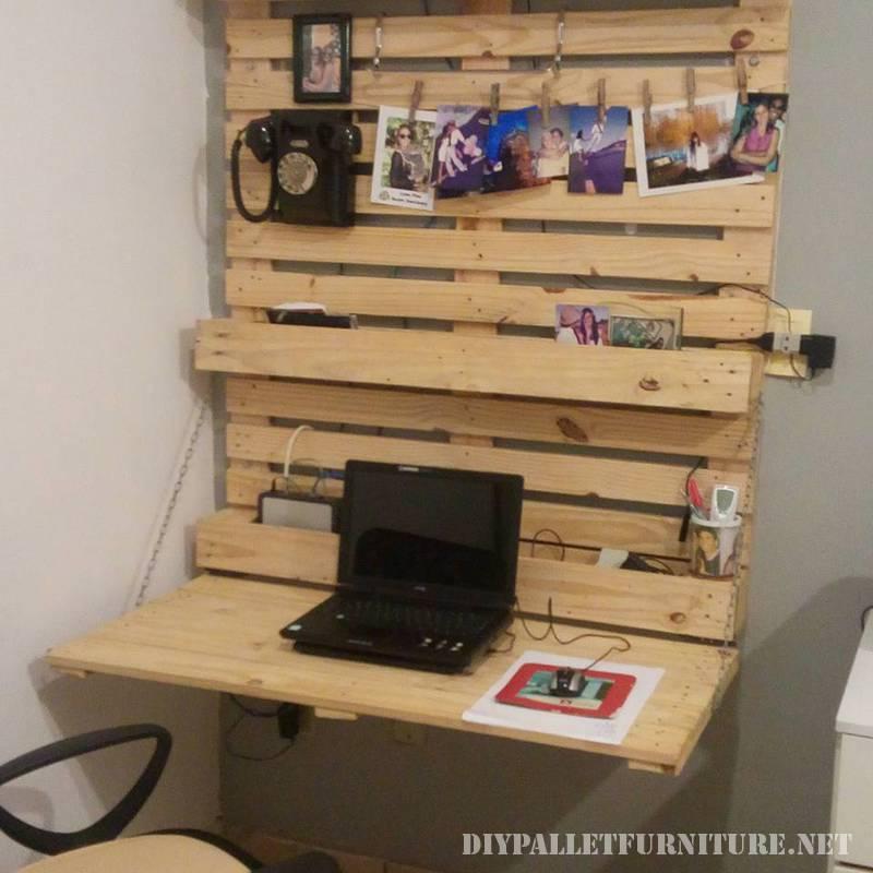 Bureau pliage avec palettesmeuble en palette meuble en - Escritorios plegables de pared ...