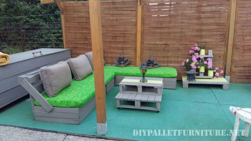 Meubles de patio avec des palettes 1meuble en palette for Meuble patio
