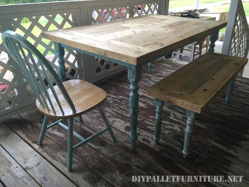 Table récupéré avec palettes planches 1