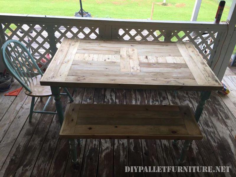 Table récupéré avec palettes planches 2