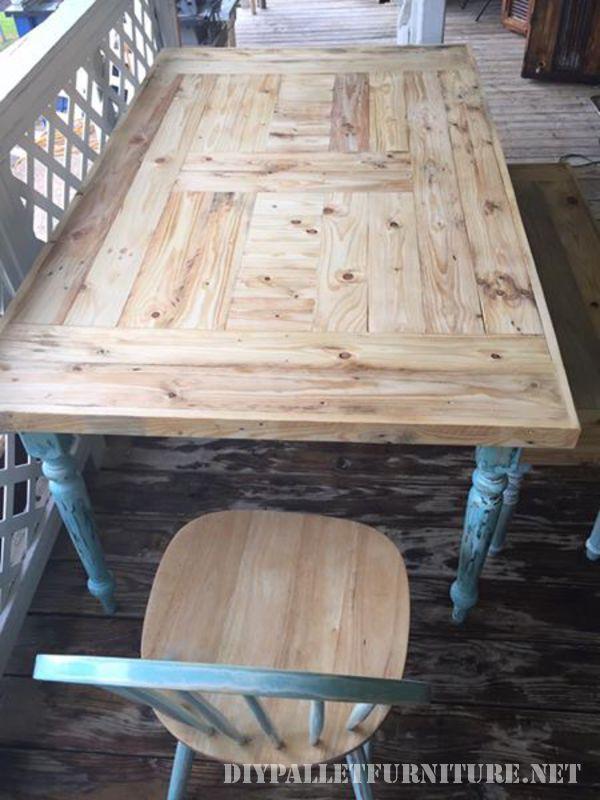 Table récupéré avec palettes planches 3