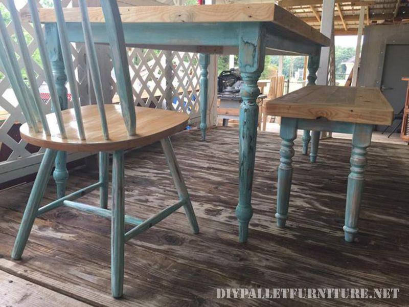 Table récupéré avec palettes planches 4
