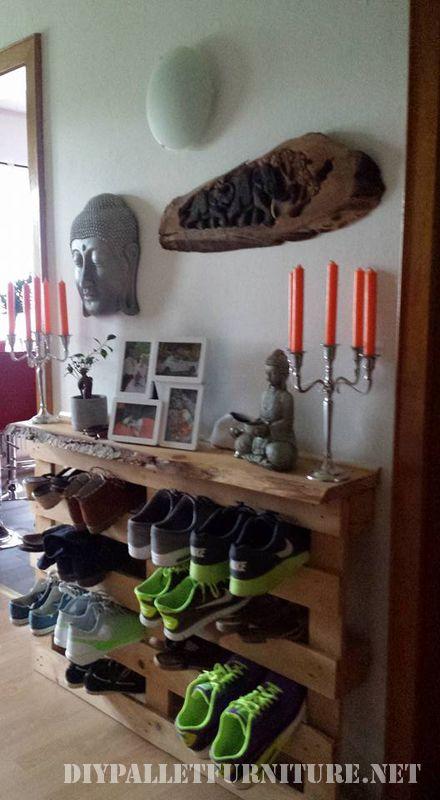 Meuble chaussures simples avec des palettesmeuble en - Meuble a chaussure en palette ...