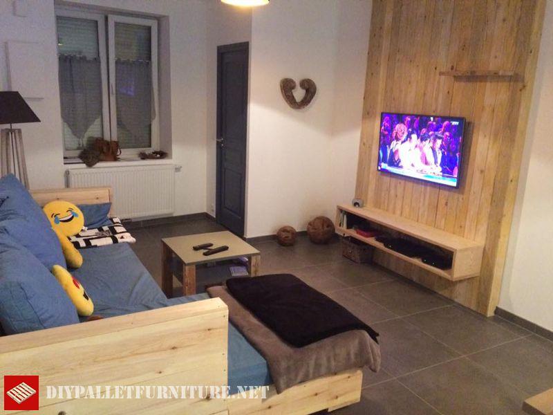 Salon complet meubl avec palettesmeuble en palette - Meuble salon complet ...