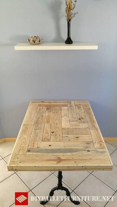 Table de cuisine adapt e avec palettesmeuble en palette - Table de cuisine en palette ...