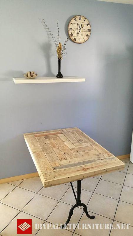Table de cuisine adaptee avec palettes 4meuble en palette - Table de cuisine en palette ...
