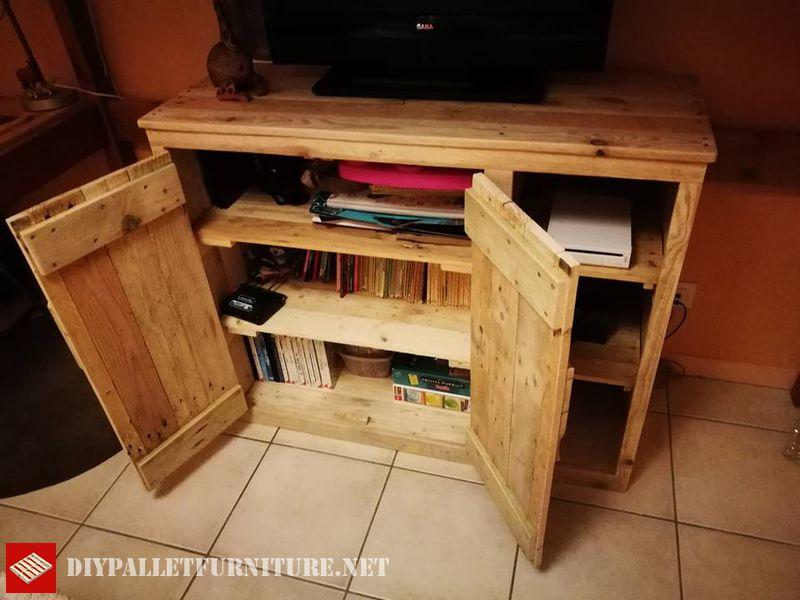 Petit armoire avec palettes pour tv 1meuble en palette - Petit meuble en palette ...