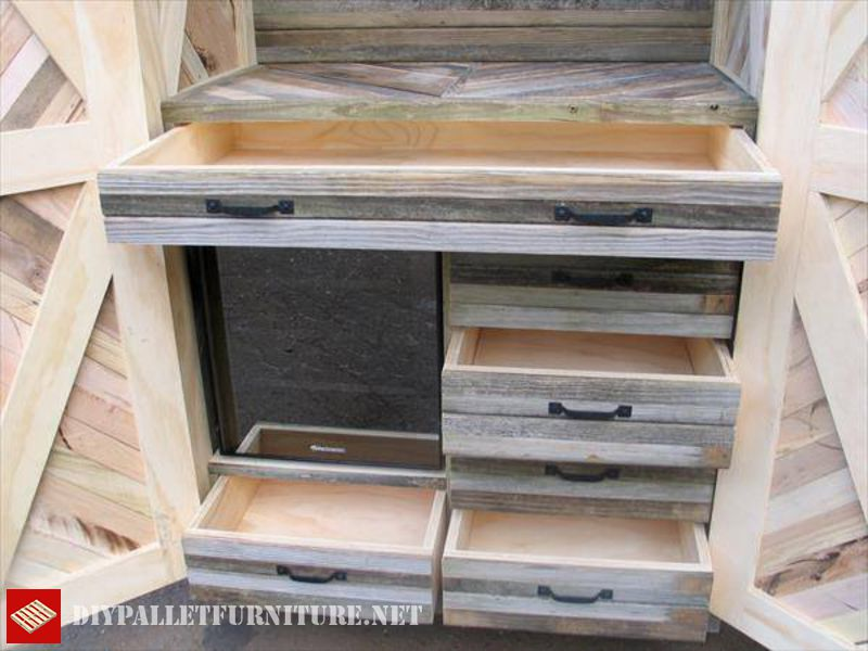 Armoire palettesmeuble en palette meuble en palette for Armoire palette bois