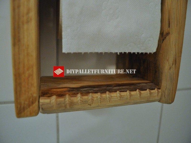 porte rouleau de papier toilette 3meuble en palette
