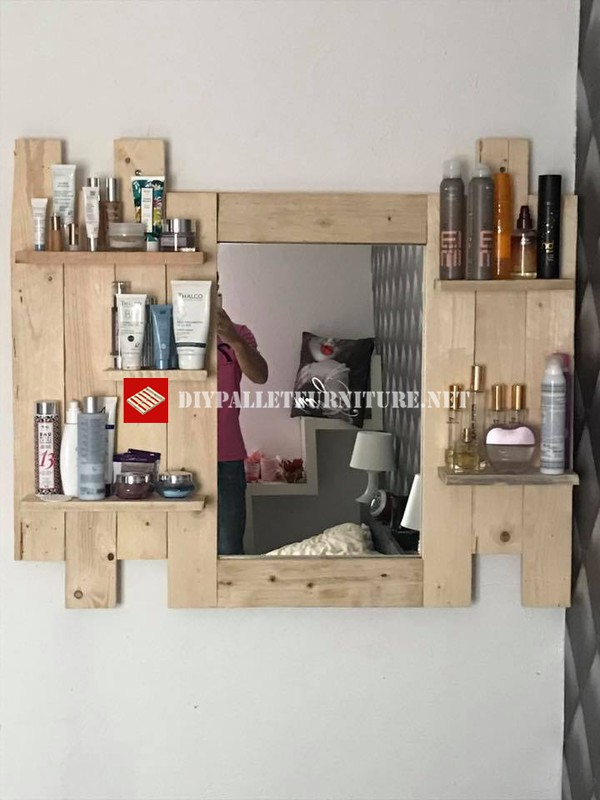 etagere miroir pour vanite avec palettes 3meuble en palette meuble en palette. Black Bedroom Furniture Sets. Home Design Ideas