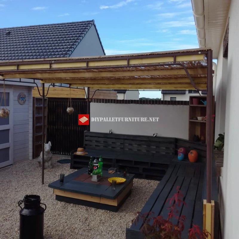 Meubles avec palettes pour le patiomeuble en palette for Meuble patio en palette