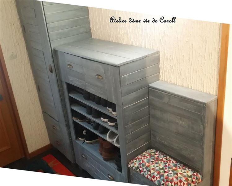 armoire commode et tag re chaussures avec palettesmeuble en palette meuble en palette. Black Bedroom Furniture Sets. Home Design Ideas