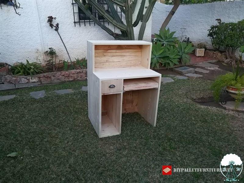 bureau avec plateau coulissantmeuble en palette meuble. Black Bedroom Furniture Sets. Home Design Ideas