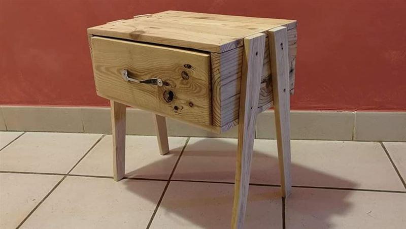 Table de chevet designmeuble en palette meuble en palette - Table de chevet en palette ...